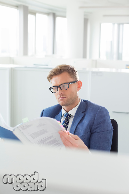 Businessman reading file in creative office