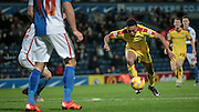 Grant Ward (Rotherham United) controls the ball before shooting during the Sky Bet Championship match between Blackburn Rovers and Rotherham United at Ewood Park, Blackburn, England on 11 December 2015. Photo by Mark P Doherty.
