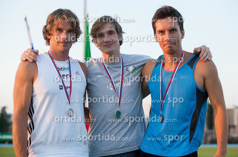 Jurij Rovan, Andrej Poljanec and Jure Batagelj during Day 1 of Slovenian Athletics National Championships 2012, on July 7, 2012 in Koper, Slovenia.  (Photo by Vid Ponikvar / Sportida.com)