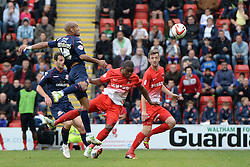 Leyton Orient's Kevin Lisbie heads the ball   - Photo mandatory by-line: Mitchell Gunn/JMP - Tel: Mobile: 07966 386802 29/09/2013 - SPORT - FOOTBALL -  Matchroom Stadium - London - Leyton Orient v Walsall - Sky Bet League One