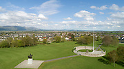 Aerial view of the Bannockburn battlefield, with the bronze equestrian statue of Robert the Bruce, or king Robert I, 1274-1329, by Charles d'Orville Pilkington Jackson, inaugurated 1964, Stirling, Scotland. In 1314 Scottish forces led by Robert the Bruce defeated the English under Edward II at Bannockburn during the First War of Scottish Independence. The site has been developed with a heritage centre, circular rotunda, flagpole, memorial cairn and the Bruce memorial, and is run by the National Trust for Scotland. Picture by Manuel Cohen