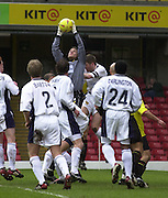 28/02/2004  -  Nationwide Div 1 Watford v Wimbledon.Wimbledon Keeper Steve banks comes out to catch the corner kick.