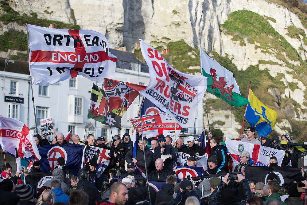 © Licensed to London News Pictures . 30/01/2016 . Dover , UK . Far right rally at Eastern Docks . Demonstrations by far-right groups (including The National Front , The North West Infidels and The South East Alliance ) and , opposing them , anti-fascists , close to the port of Dover in Kent . Photo credit : Joel Goodman/LNP
