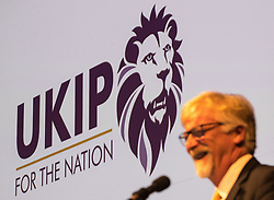 "© Licensed to London News Pictures . 29/09/2017 . Torquay , UK . Interim leader STEVE CROWTHER unveils the party's new logo , a lion that is reported to be very similar the the Premier League logo and tagline "" UKIP for the nation "" . The UK Independence Party Conference at the Riviera International Centre . UKIP is due to announce the winner of a leadership election which has the potential to split the party . Photo credit: Joel Goodman/LNP"