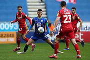 Wigan Athletic forward Kieffer Moore (19) during the EFL Sky Bet Championship match between Wigan Athletic and Nottingham Forest at the DW Stadium, Wigan, England on 20 October 2019.