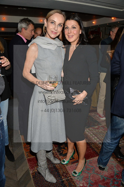 Left to right, ELAINE SULLIVAN and ALLEGRA DONN at a reception to celebrate the publication of The Shadow of The Crescent Moon by Fatima Bhutto at the Belgraves Hotel, 20 Chesham Place, London, on 2nd December 2013.