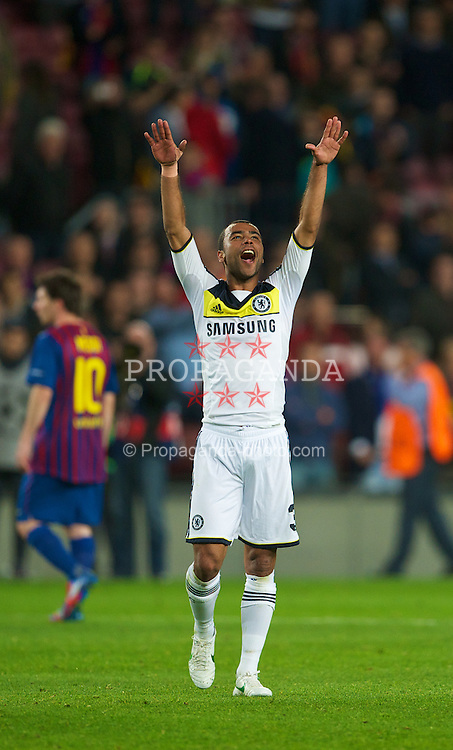 BARCELONA, SPAIN - Tuesday, April 24, 2012: Chelsea's Ashley Cole celebrates his side's 3-2 victory over FC Barcelona after the UEFA Champions League Semi-Final 2nd Leg match at the Camp Nou. The game finished 2-2, 3-2 on aggregate. (Pic by David Rawcliffe/Propaganda)
