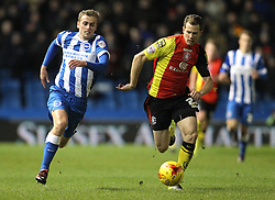 James Wilson of Brighton and Hove Albion and Jonathan Spector of Birmingham City challenge for the ball - Mandatory byline: Paul Terry/JMP - 28/11/2015 - Football - Falmer Stadium - Brighton, England - Brighton v Birmingham City - Sky Bet Championship