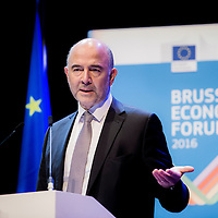 Brussels, Belgium, 9 June 2016<br /> Brussels Economic Forum 2016.<br /> Pierre Moscovici, European Commissioner for Economic and Financial Affairs, Taxation and Customs.<br /> The Brussels Economic Forum (BEF) is the flagship annual economic event of the European Commission.<br /> The BEF brings together top European and international policymakers and opinion leaders as well as civil society and business leaders. It is the place to take stock of economic developments, identify key challenges and debate policy priorities.<br /> Photo: European Commission / Ezequiel Scagnetti