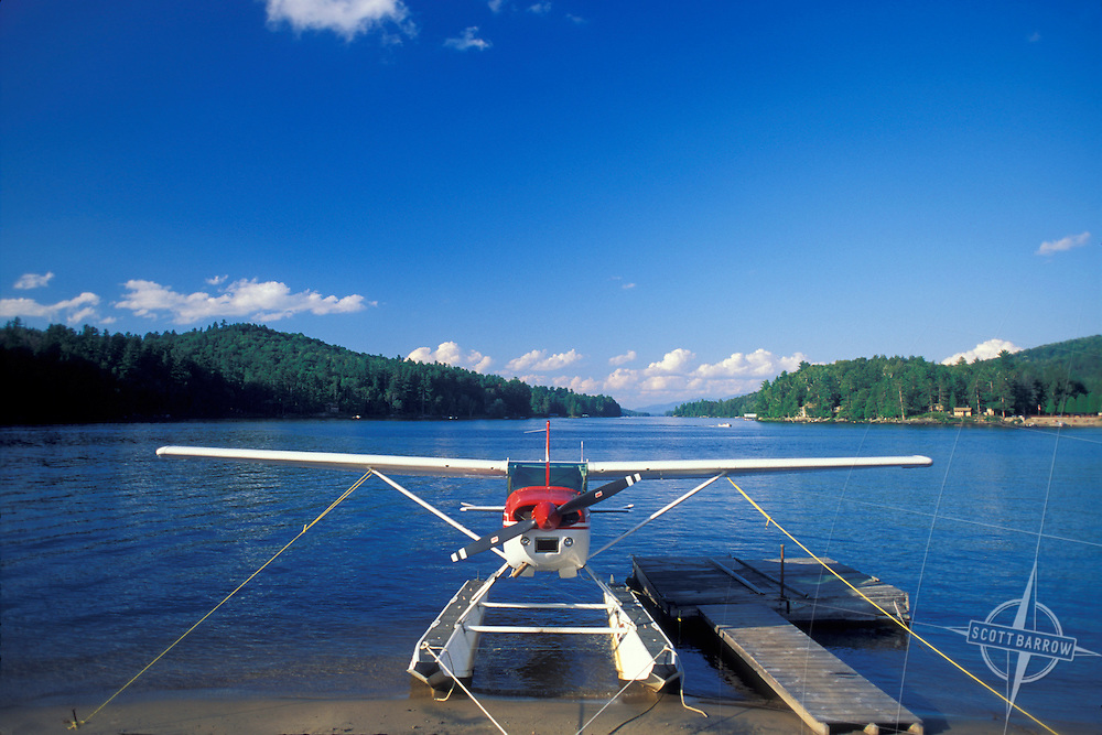 Single engine private plane with pontoons for water landings.