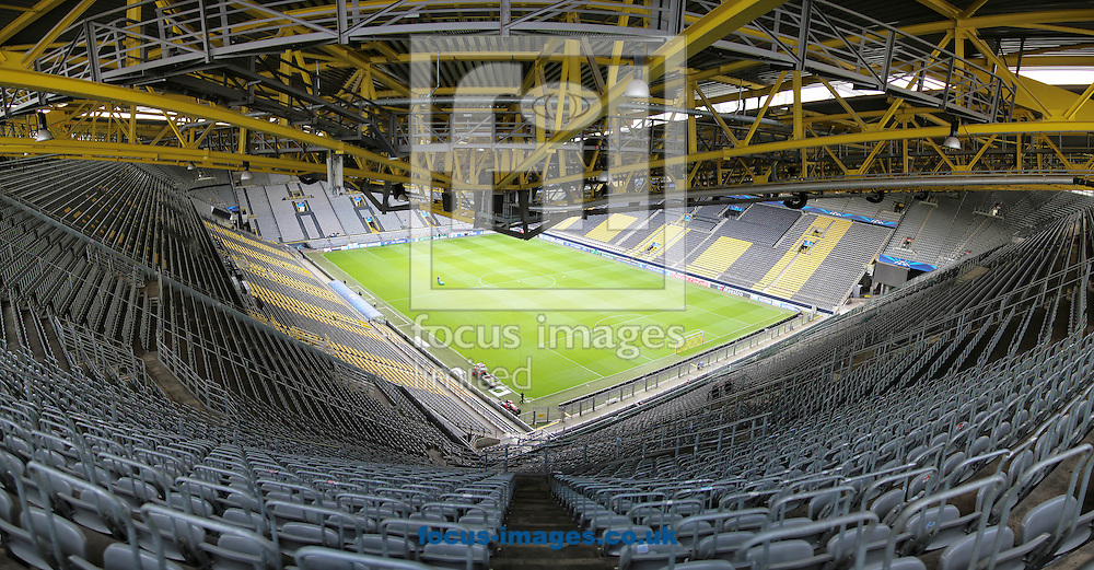 The away fans view of Westfalenstadion, home of Borussia Dortmund before the UEFA Champions League match against Real Madrid<br /> Picture by Richard Calver/Focus Images Ltd +447792 981244<br /> 08/04/2014