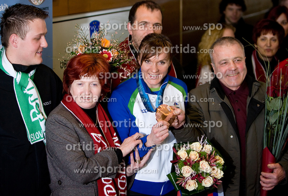 Slovenian bronze medalist cross-country skier Petra Majdic with her family: brother Gasper, mother Vera, brother Gregor and father Peter at arrival to Airport Joze Pucnik from Vancouver after Winter Olympic games 2010, on March 1, 2010 in Brnik, Slovenia. (Photo by Vid Ponikvar / Sportida)