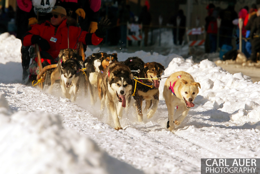 3/3/2007:  Anchorage Alaska -  The dog team of Veteran Rick Swenson of Two Rivers, AK during the Ceremonial Start of the 35th Iditarod Sled Dog Race