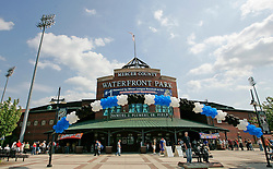May 24, 2007; Trenton, NJ, USA;  Fans begin to lineup outside Waterfront Park in Trenton, NJ to see Roger Clemens (22) during his Eastern League start for the Trenton Thunder (New York Yankees Double-A affiliate) against the Portland Sea Dogs.
