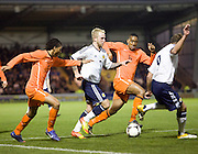 Dundee United's Johnathon Russell bursts into the Dutch penalty area, going past Patrick Vanaaholt and Leroy Fer - Scotland v Holland - UEFA U21 European Championship qualifier at St Mirren Park..© David Young - .5 Foundry Place - .Monifieth - .Angus - .DD5 4BB - .Tel: 07765 252616 - .email: davidyoungphoto@gmail.com.web: www.davidyoungphoto.co.uk