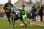 Forest Green Rovers George Williams(11) takes on Yeovil Towns Craig Alcock(24) during the EFL Sky Bet League 2 match between Forest Green Rovers and Yeovil Town at the New Lawn, Forest Green, United Kingdom on 16 February 2019.