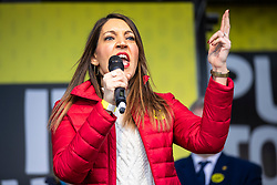 """© Licensed to London News Pictures. 23/03/2019. London, UK. Labour MP Dr Rosena Allin-Khan speaks in Parliament Square after an estimated one million people marched through central London to demand that government allow a """"People's Vote"""" on the Brexit deal. Several key votes will be held in Parliament in the coming week. Photo credit: Rob Pinney/LNP"""