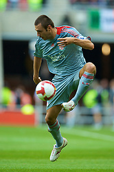 SUNDERLAND, ENGLAND - Saturday, August 16, 2008: Liverpool's Andrea Dossena in action against Sunderland during the opening Premiership match of the season at the Stadium of Light. (Photo by David Rawcliffe/Propaganda)