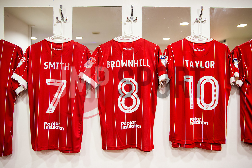 Korey Smith, Josh Brownhill and Matty Taylor shirts hang inside the Bristol City dressing room - Rogan/JMP - 23/12/2017 - Loftus Road - London, England - Queens Park Rangers v Bristol City - Sky Bet Championship.