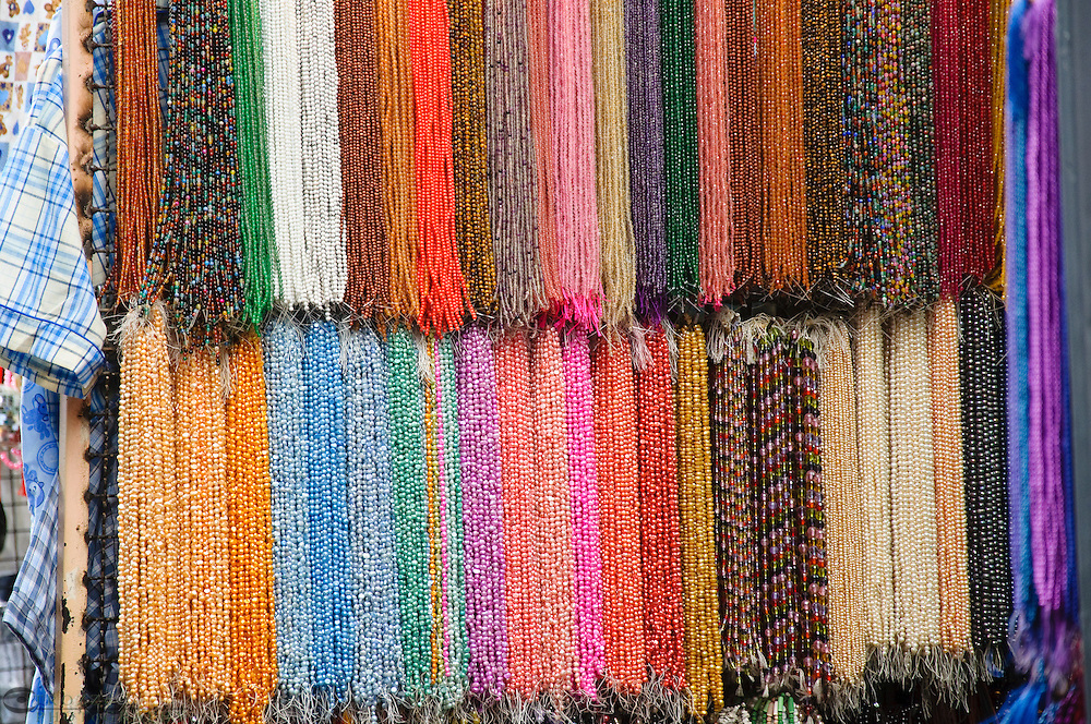 Beads, colored gems, pearls and stones for sale in Chinatown, Bangkok, Thailand