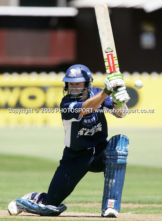 Auckland Aces opening batsman Paul Hitchcock plays a cover drive during the State Shield semi final between the State Wellington Firebirds and the State Auckland Aces held at the Basin Reserve in Wellington, New Zealand on Tuesday, 6 February, 2007. Photo: Tim Hales/PHOTOSPORT