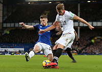 10th February 2018, Goodison Park, Liverpool, England; EPL Premier League Football, Everton versus Crystal Palace; Alexander Sørloth of Crystal Palace cuts the ball back across the penalty area as Jonjoe Kenny of Everton attempts to block <br /> <br /> Norway only