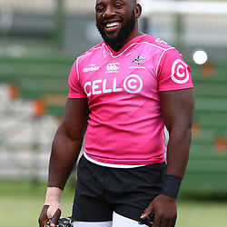 Tendai Beast Mtawarira during the cell c sharks training session at  Growthpoint Kings Park 13,02,2018 Photo by Steve Haag)