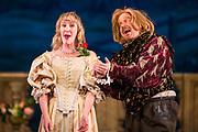 Dress rehearsal of Haddon Hall performed by the National Gilbert & Sullivan Opera Company in Buxton Opera House, Buxton, England on Thursday 02 August 2018 Photo: Jane Stokes<br /> <br /> DIRECTOR/Sarah Helsby Hughes<br /> CONDUCTOR/Andrew Nicklin<br /> CHOREOGRAPHER/ Jackie O'Brien<br /> <br /> CAST<br /> <br /> JOHN MANNERS/ Nick Sales<br /> SIR GEORGE VERNON/Donald Maxwell<br /> OSWALD/ David Menezes<br /> RUPERT VERNON/Richard Suart<br /> THE McCRANKIE/Bruce Graham<br /> SING-SONG SIMEON/Bobby Greatorex<br /> KILL-JOY CANDLEMAN/<br /> NICODEMUS KNOCK-KNEE/Mike Nash<br /> BARNABAS/Max Taylor<br /> MAJOR DOMO/<br /> DOROTHY VERNON/Rachel Harland<br /> LADY VERNON/Catherine Marriott<br /> DORCAS/Bee Bradley<br /> NANCE/Joanne Robinson<br /> GERTRUDE/Val Green<br /> DEBORAH/Alexandra Mather<br /> <br /> THE CHORUS
