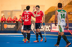 England's Phil Roper and Simon Mantell celebrate another England goal. England v South Africa - Investec London Cup, Lee Valley Hockey & Tennis Centre, London, UK on 10 July 2014. Photo: Simon Parker