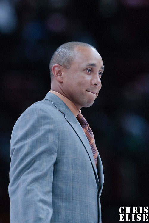 06 October 2010: Former NBA player John Starks is seen during the Minnesota Timberwolves 106-100 victory over the New York Knicks, during 2010 NBA Europe Live, at the POPB Arena in Paris, France.