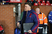 Manchester United Manager Louis van Gaal during the Barclays Premier League match between Manchester United and Stoke City at Old Trafford, Manchester, England on 2 February 2016. Photo by Phil Duncan.