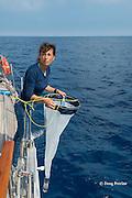 CSR program director Sabina Airoldi, of Tethys Research Institute, prepares to deploy a plankton sampling net in the Pelagos Sanctuary, Ligurian Sea, Italy ( Mediterranean Sea )