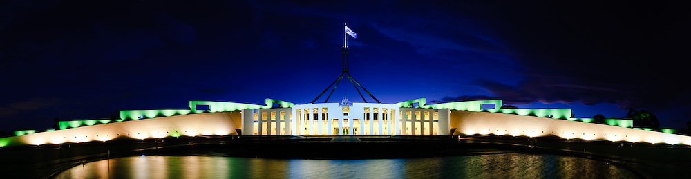 High resolution panorama of Australia's Parliament House in Canberra at night.