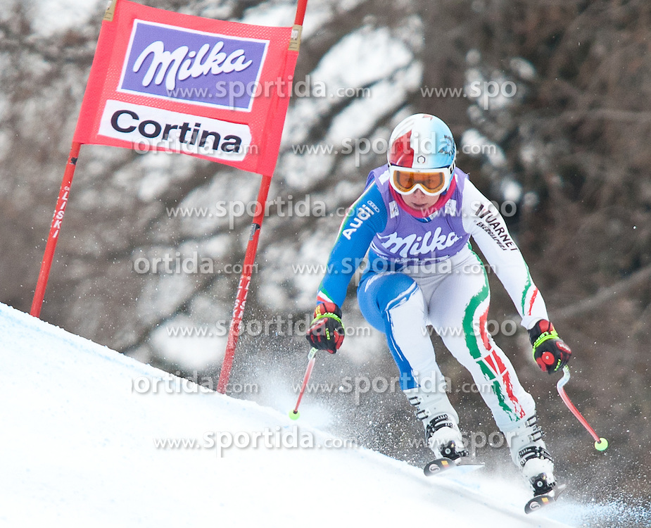 20.01.2011, Tofana, Cortina d Ampezzo, ITA, FIS World Cup Ski Alpin, Lady, Cortina, Abfahrt 2. Training, im Bild Blick von den Tribühnen im Bild Daniela Merighetti (ITA, #17) // Daniela Merighetti (ITA) during FIS Ski Worldcup ladies downhill second training at pista Tofana in Cortina d Ampezzo, Italy on 20/1/2011. EXPA Pictures © 2011, PhotoCredit: EXPA/ J. Groder
