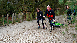 Erik and Vera in training for the Camino 2020 at the Soesterduinen on March 08, 2020 in Soest, Netherlands