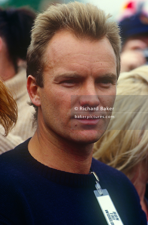 "English musician, Sting appears at the first Sport Aid event (""Run the World"") in May 1986 at London's Hyde Park England. Sport Aid  was a sport-themed campaign for African famine relief held in May 1986, involving several days of all-star exhibition events in various sports, and culminating in the Race Against Time, a 10 km fun run held simultaneously in 89 countries.[1] Timed to coincide with a UNICEF development conference in New York City, Sport Aid raised $37m for Live Aid and UNICEF."