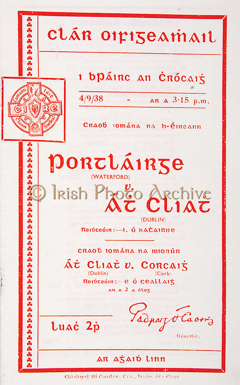 All Ireland Senior Hurling Championship Final,.Brochures,.04.09.1938, 09.04.1938, 4th September 1938, .Dublin 2-5, Waterford 1-6,.Minor Dublin v Cork,.Senior Dublin v Waterford,.Croke Park, .0491938AISHCF,