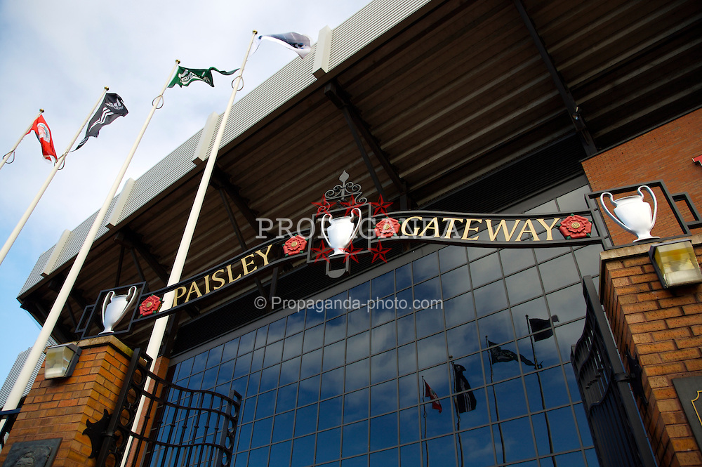 Liverpool, England - Saturday, March 3, 2007:  The Paisley Gateway at Anfield, home of Liveroool FC. The gates are a tribute to England's most successful manager ever, Bob Paisley. (Pic by David Rawcliffe/Propaganda)