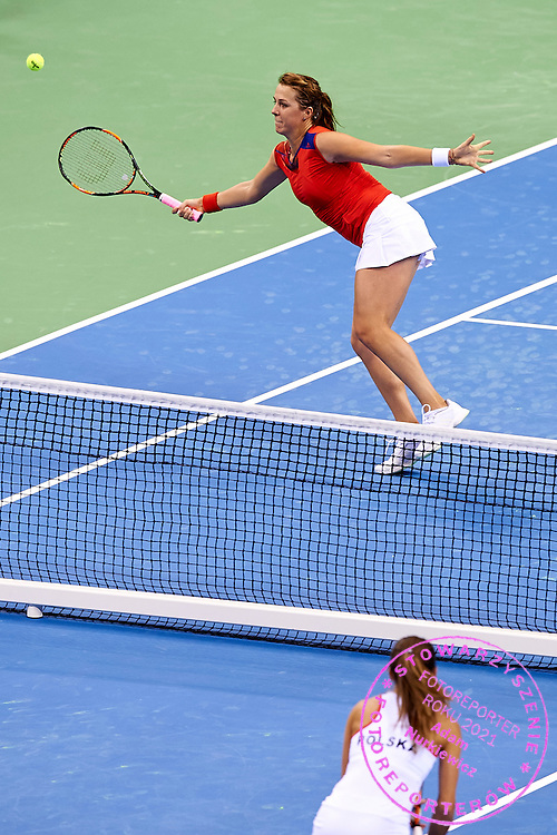 Anastasia Pavyuchenkova from Russia in action during Second Day of the Fed Cup / World Group 1st round tennis match between Poland and Russia at Tauron Krakow Arena on February 8, 2015 in Cracow, Poland.<br /> <br /> Poland, Cracow, February 8, 2015<br /> <br /> Picture also available in RAW (NEF) or TIFF format on special request.<br /> <br /> For editorial use only. Any commercial or promotional use requires permission.<br /> <br /> Adam Nurkiewicz declares that he has no rights to the image of people at the photographs of his authorship.<br /> <br /> Mandatory credit:<br /> Photo by &copy; Adam Nurkiewicz / Mediasport
