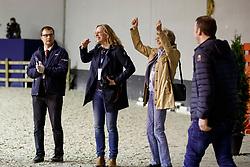 ARNS-KROGMANN Christine (Pferdebesitzer), WINTER-SCHULZE Madeleine (Pferdebesitzer), ARNS-KROGMANN Frank (Pferdebesitzer)<br /> Paris - FEI World Cup Finals 2018<br /> FEI World Cup Dressage Freestyle/Kür<br /> www.sportfotos-lafrentz.de/Stefan Lafrentz<br /> 14. April 2018