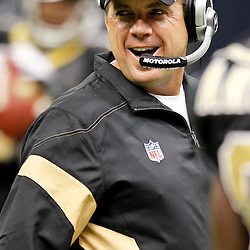 September 1, 2011; New Orleans, LA, USA; New Orleans Saints head coach Sean Payton prior to kickoff of a preseason game against the Tennessee Titans at the Louisiana Superdome. Mandatory Credit: Derick E. Hingle