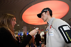 Mojca Finc and Jakov Fak at press conference of Slovenia Biathlon team before new season 2010 - 2011, on November 24, 2010, in Emporium, BTC, Ljubljana, Slovenia.  (Photo by Vid Ponikvar / Sportida)