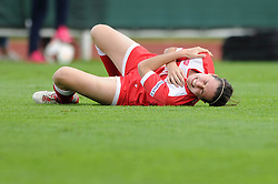 Bristol Academy Womens' Natalia Pablos Sanchon picks up an injury  - Photo mandatory by-line: Dougie Allward/JMP - Mobile: 07966 386802 - 28/09/2014 - SPORT - Women's Football - Bristol - SGS Wise Campus - Bristol Academy Women's v Manchester City Women's - Women's Super League