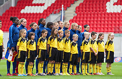 LLANELLI, WALES - Wednesday, August 28, 2013: France's players line-up against Germany before the Semi-Final match of the UEFA Women's Under-19 Championship Wales 2013 tournament at Parc y Scarlets. (Pic by David Rawcliffe/Propaganda)
