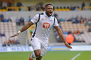 Derby County striker Darren Bent (11) scores a goal 0-2 and and celebrates during the EFL Sky Bet Championship match between Wolverhampton Wanderers and Derby County at Molineux, Wolverhampton, England on 5 November 2016. Photo by Alan Franklin.