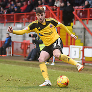 Robert Harris on the ball as Sheffield United pressed for an equalising goal during the Sky Bet League 1 match between Crawley Town and Sheffield Utd at Broadfield Stadium, Crawley, England on 28 February 2015. Photo by David Charbit.
