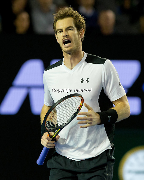 29.01.2016. Melbourne Park, Melbourne, Australia. Austalian Open Tennis Championship. Mens Semi Final Day. Andy Murray in action during his mens semi final win against Milos Raonic.