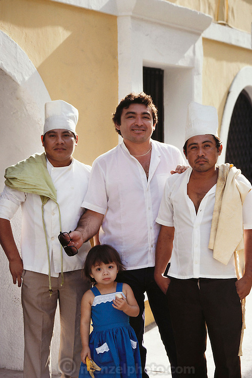 Kitchen workers outside a hotel in Merida, Mexico, Yucatan.