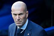 Real Madrid's French coach Zinedine Zidane reacts during the Spanish championship Liga football match between Real Madrid CF and RC Deportivo on January 21, 2018 at Santiago Bernabeu stadium in Madrid, Spain - Photo Benjamin Cremel / ProSportsImages / DPPI
