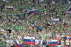 06.09.2014, Palau Sant Jordi, Barcelona, ESP, FIBA WM, Dominikanische Republik vs Slowenien, im Bild Slovenia's supporters // during FIBA Basketball World Cup Spain 2014 match between Dominican Republic and Slovenia at the Palau Sant Jordi in Barcelona, Spain on 2014/09/06. EXPA Pictures © 2014, PhotoCredit: EXPA/ Alterphotos/ Acero<br /> <br /> *****ATTENTION - OUT of ESP, SUI*****